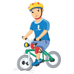 Boy and Destroyed Bicycle Vector Illustration