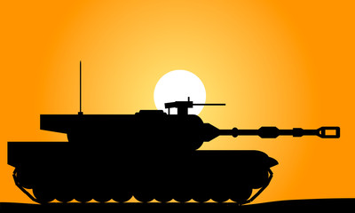 Modern heavy tank at sunset