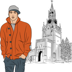 Vector sketch of the stylish guy in Moscow