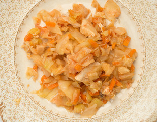 stewed cabbage with chicken, Onions, and Herbs