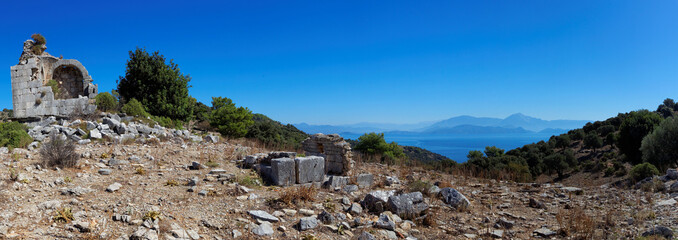 Aegean islands Turkish Mediterranean Sea with historical ruin
