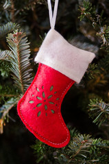 White and Red Stocking Ornament