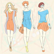 Vector beautiful fashion girls top models in dresses