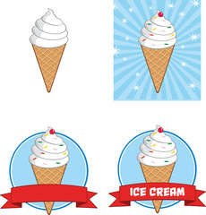 Ice Cream Cone Circle Banners. Collection Set
