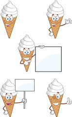 Ice Cream Cartoon Mascot Character. Collection Set