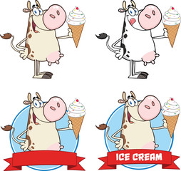Cow Character Holding A Ice Cream Circle Banners. Collection Set
