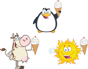 Different Mascots Holding A Ice Cream. Collection Set