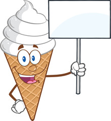 Ice Cream Cartoon Mascot Character Holding A Blank Sign