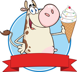Happy Cow Cartoon Character Holding A Ice Cream Circle Banner