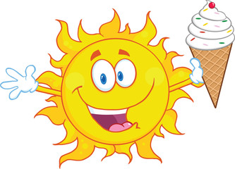 Happy Sun Cartoon Mascot Character Holding A Ice Cream
