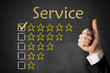 thumbs up service rating stars chalkboard