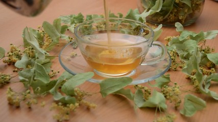 Linden Tea Poured into Transparent Cup
