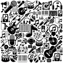 Set of musical elements, vector black isolated musical icons.
