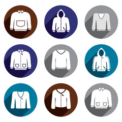 Man sweaters vector icon set.