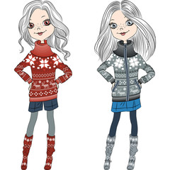 vector fashion hipster girls in knitted sweaters
