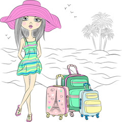 Vector beautiful fashion girl on sea beach