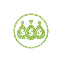 Money icon with three bags, vector symbol with hand drawn lines