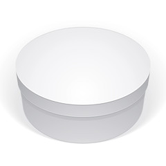 Realistic white round package box for products, put your design
