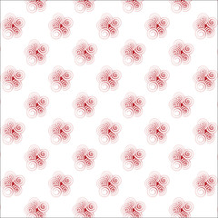 Seamless pattern with red spiral curls.