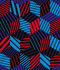 Vector bright geometric abstract seamless pattern.