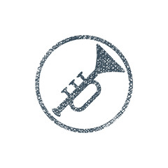 Vector icon of trumpet with hand drawn lines texture.