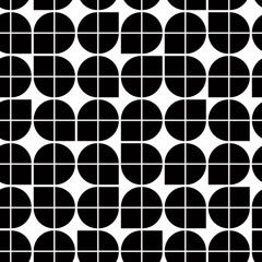 Black and white abstract geometric seamless pattern, contrast il