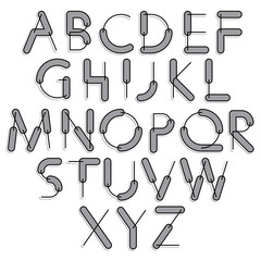 Funny constructive vector font, rounded cartoon letters with gre