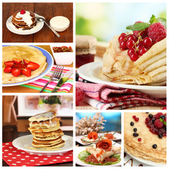Delicious pancakes collage