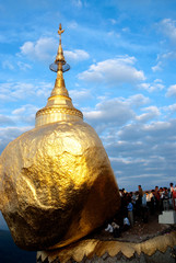 People offerings of gold for Kyaiktiyo Pagoda.Myanmar.