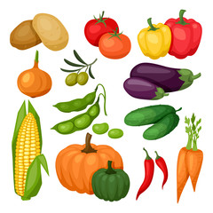 Icon set of fresh ripe stylized vegetables.