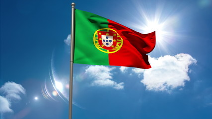 Portugal national flag waving on flagpole