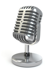 Vintage microphone on a white isolated background.
