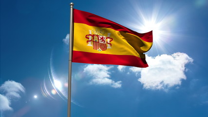 Spain republic national flag waving on flagpole