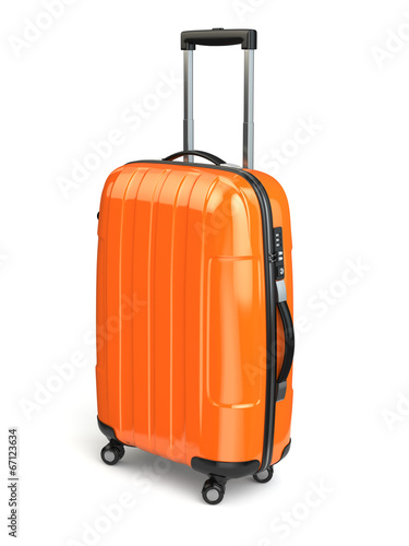 Tuinposter Ontspanning Luggage, Orange suitcase on white isolated background.