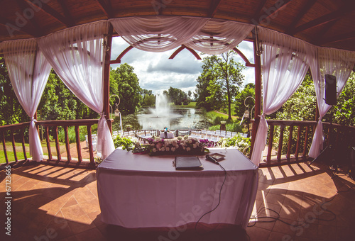 canvas print picture Inside of beautiful wedding gazebo