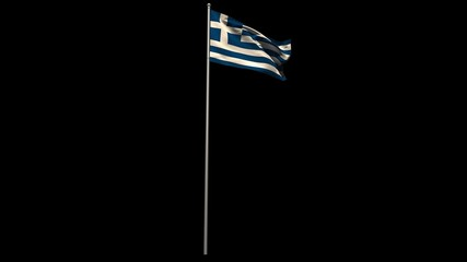Greece national flag waving on flagpole