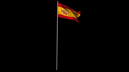 Spain national flag waving on flagpole