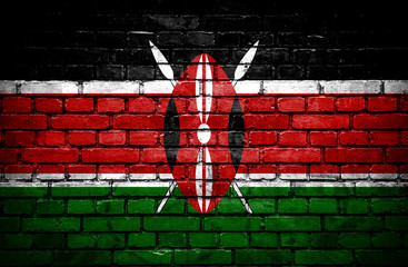 Brick wall with painted flag of Kenya