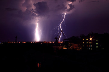 landscape with lightning at night