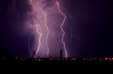 lightning at thunderstorm at night