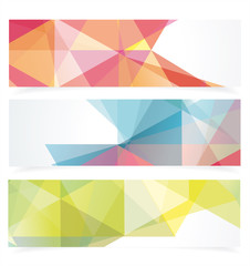 Banners with pattern of geometric shapes.