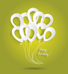 Birthday card with paper ballons