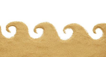 sand with wave shape isolated on white