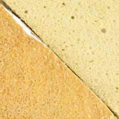 Yellow and brown coffee chiffon cake texture