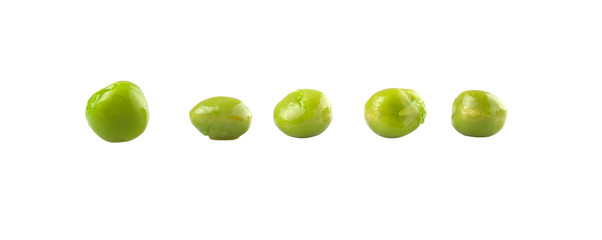 Green peas over white background