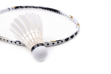 new shuttlecock and racket isolated