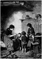 Peasant Family : Mother feeding Children - 19th century