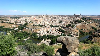 Panoramic view over the old town of Toledo, Spain