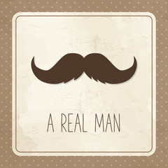 Vintage greeting card for man, mustache