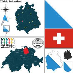 Map of Zurich, Switzerland